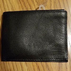 Black genuine leather bill fold